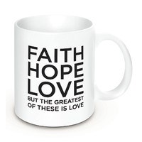 Caneca Faith Hope Love - 350ml cor branca