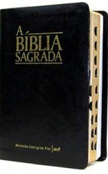 Bíblia ACF média capa em napa preta