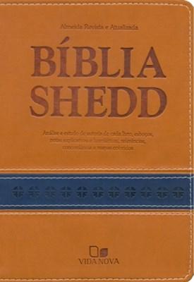 Bíblia Shedd - capa bicolor castanho e azul