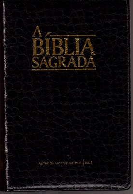 Bíblia ACF com fecho capa preta estilo crocodilo
