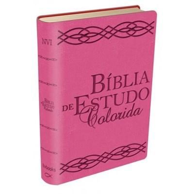 Bíblia de estudo colorida - capa rosa