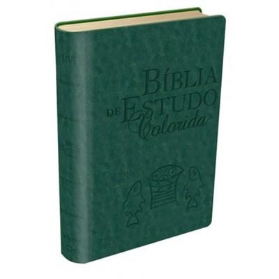 Bíblia de estudo colorida - capa verde
