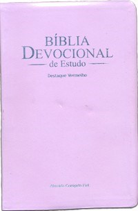 Bíblia devocional de estudo, capa lilás e palavras de Jesus a vermelho