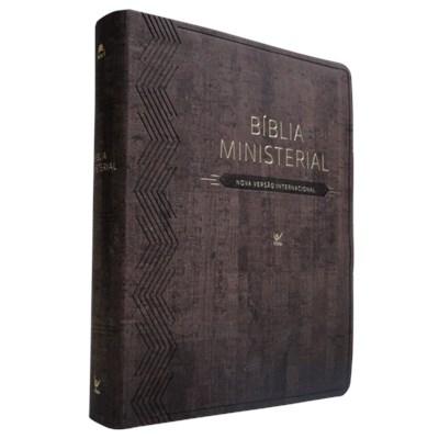 Bíblia Ministerial com índice digital e capa castanha