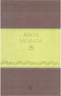 Bíblia NVI média capa bicolor castanho e verde claro