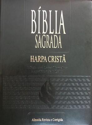 Bíblia sagrada com harpa cristã letra gigante palavras de Jesus em vermelho