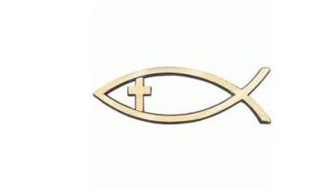 Peixe para carro com cruz, cor dourado
