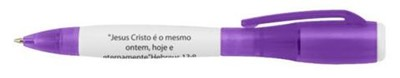 Esferográfica em plástico com lanterna, cor roxo