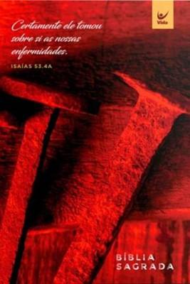 Bíblia NVI brochura vermelha cravos
