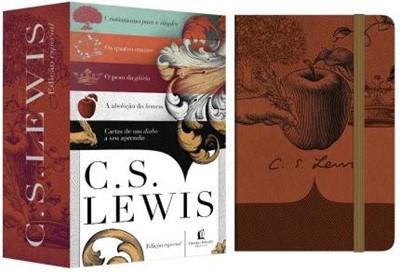 C. S. Lewis, caixa com 5 livros e oferta de bloco de notas