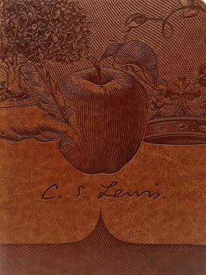 Bloco de notas C. S. Lewis com linhas e elástico
