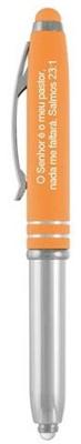 Esferográfica MLZ com lanterna e tampa cor laranja com estilete (Stylus)