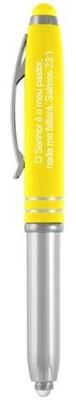 Esferográfica MLZ com lanterna e tampa cor amarela com estilete (Stylus)