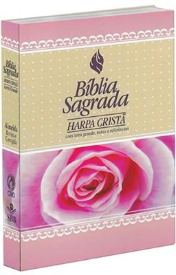 Bíblia Sagrada com harpa cristã, letra grande, notas e referências