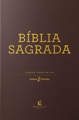 Bíblia Sagrada ACF capa flexível castanha e beiras douradas