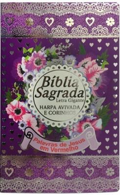 Bíblia Sagrada com letra gigante, harpa avivada, corinhos e palavras de Jesus em vermelho