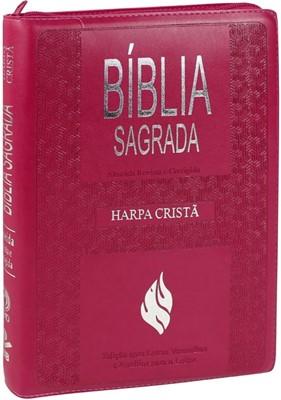 Bíblia Sagrada com Harpa Cristã e capa com fecho