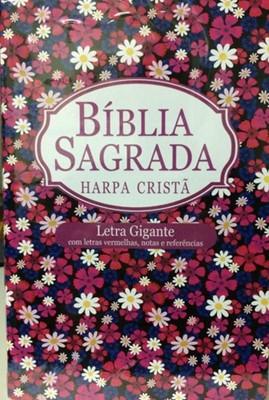 Bíblia Sagrada com Harpa Cristã, letra gigante, letras vermelhos, notas e referências