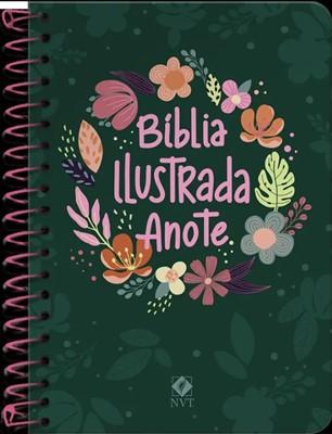 Bíblia ilustrada Anote capa espiral cores e flores