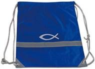 Mochila polyester com impressão de peixe e faixa relectora - cor azul