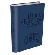 Bíblia de estudo colorida - capa azul