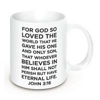 """Caneca """"John 3:16"""" - 350ml cor branca"""