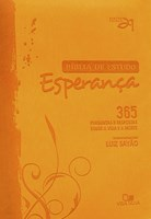 Bíblia de Estudo Esperança - capa laranja