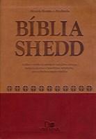 Bíblia Shedd capa bicolor castanho e vermelho