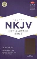 NKJV Gift & Award Bible, Brown Imitation Leather