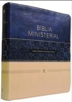 Bíblia Ministerial com capa azul e bege