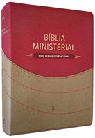Bíblia Ministerial com índice digital e capa bicolor castanho claro e vermelho