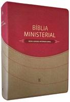 Bíblia Ministerial com capa bicolor castanho claro e vermelho