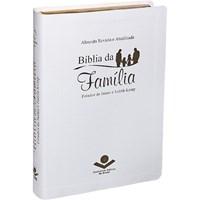 Bíblia da família com capa branca e beiras douradas