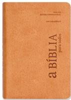 Bíblia para todos com concordância, capa flexível, cor creme e beiras prateadas