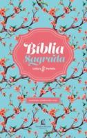 Bíblia Sagrada ACF flexível floral e beiras cor de rosa