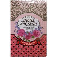 Bíblia Sagrada com letra gigante harpa avivada, corinhos e palavras de Jesus em vermelho