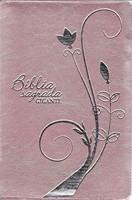 Bíblia Sagrada com letra gigante e capa rosa claro com fecho