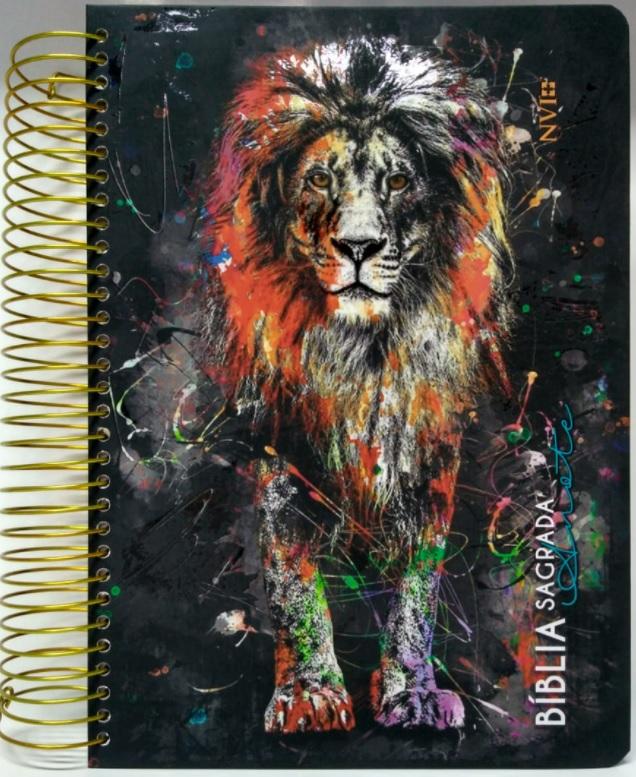Bíblia Anote NVI capa espiral leão grafite