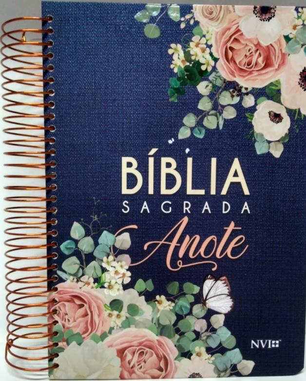 Bíblia Anote NVI espiral flores jeans